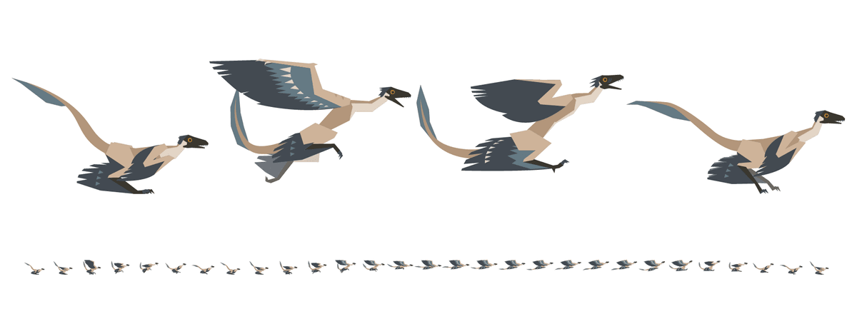 This sprite sheet for a Microraptor's run sequence has 29 frames